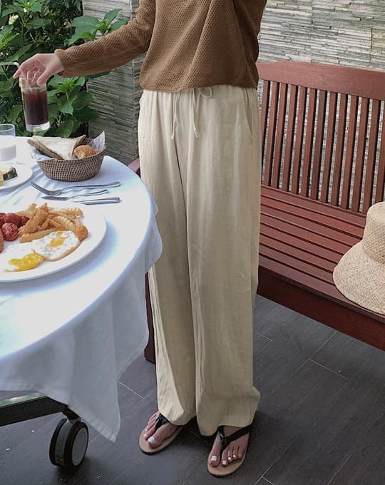 Morganic Linen Wide Banding Pants - 5 color