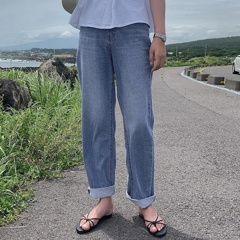 Breather Date Wide Long Denim Pants - 1 color 牛仔褲