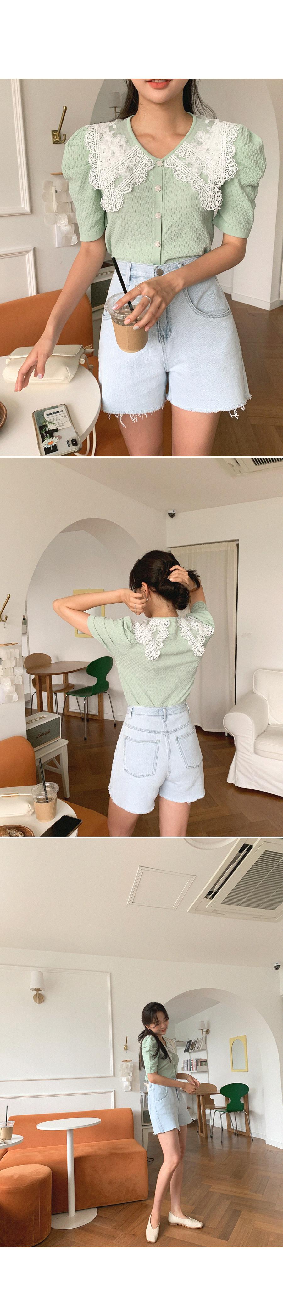 Fluffy lace collar Knitwear