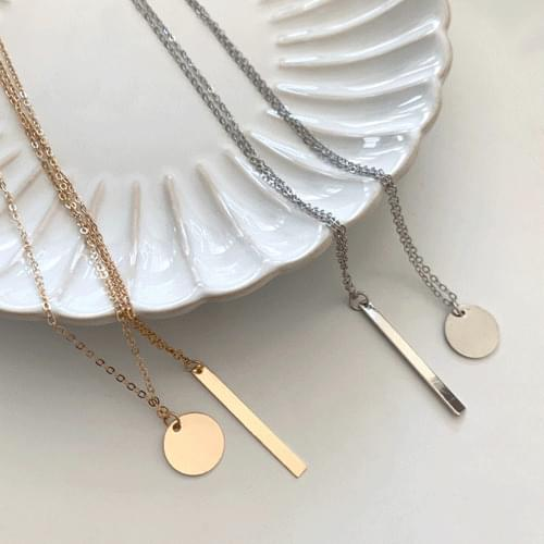 Layered Stick Coin Necklace 2color A#YW051