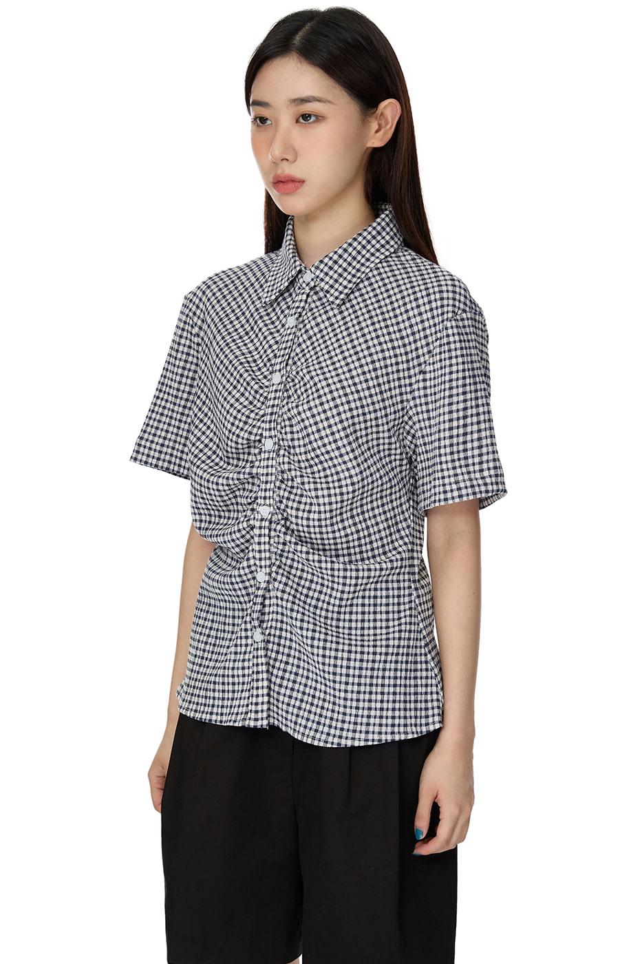 depth check shirring shirt