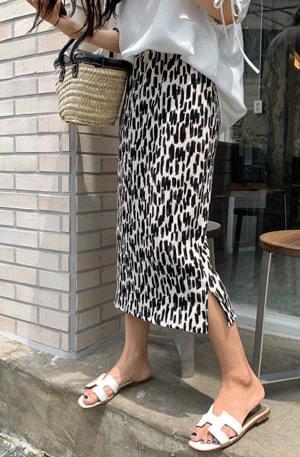 leopard wrinkle-free fine pleated skirt