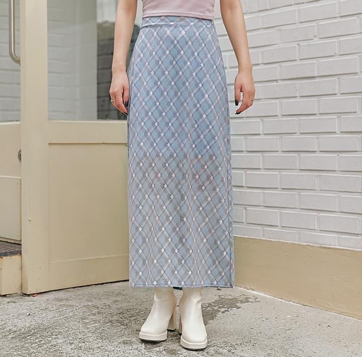 格紋後鬆緊高腰長裙