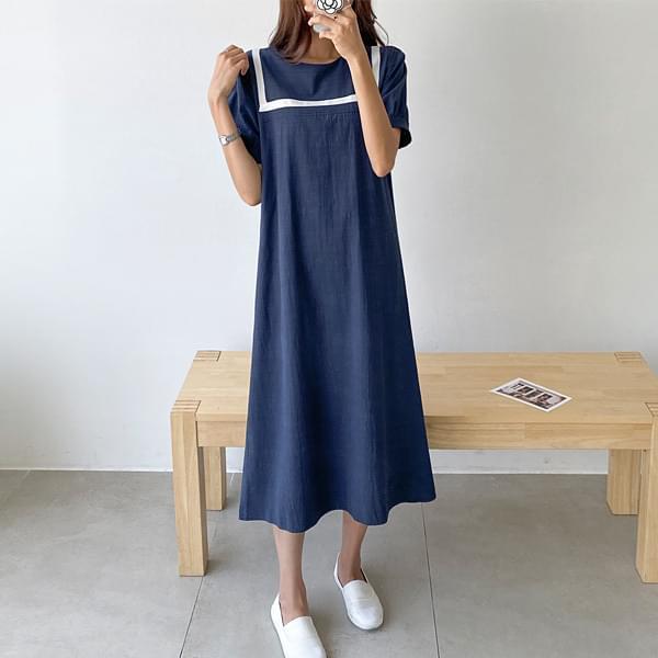 Sailor Puff Long Dress #38031