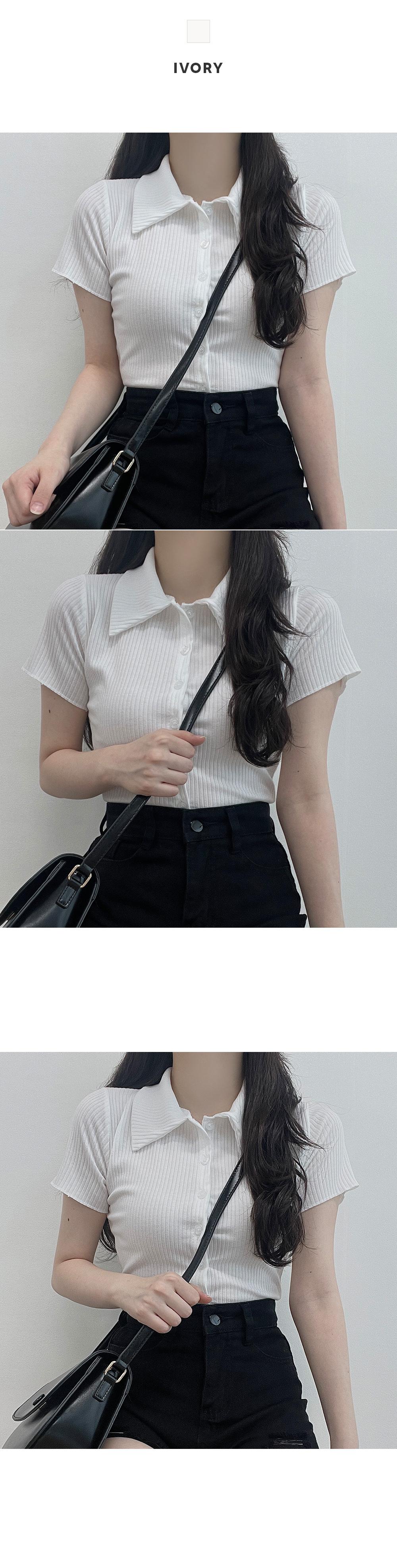 심플 무드, 크롭 골지 카라 반팔 티셔츠 가디건