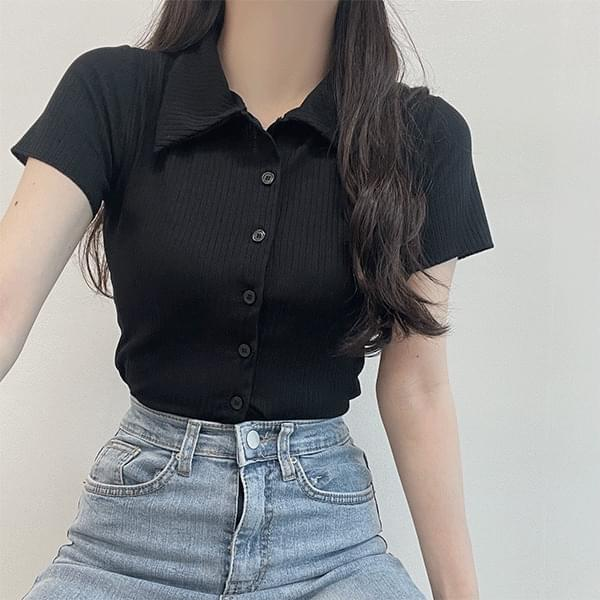 Simple mood, cropped Ribbed collar short sleeve T-shirt cardigan