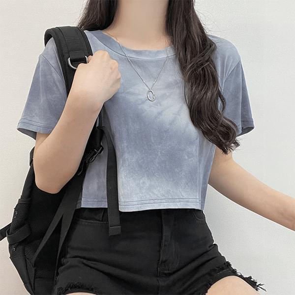 Congee, T-dye Printed Crop Short Sleeve T-shirt
