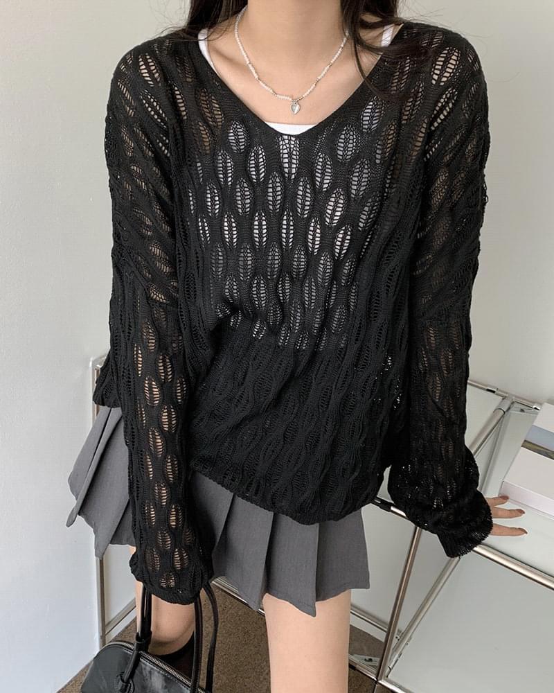 Built Loose-fit V-Neck Skirt Knitwear (Delayed delivery)