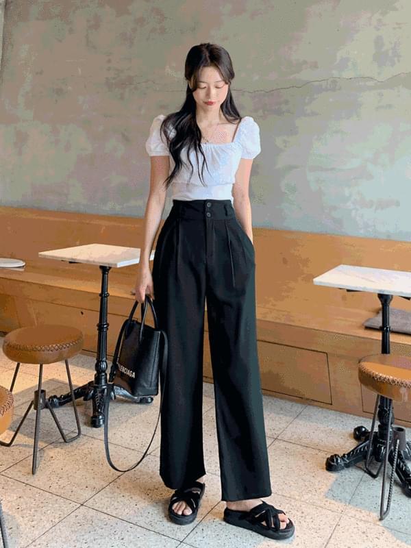 two-button wide pintuck slacks (人氣商品配送延遲) 長褲