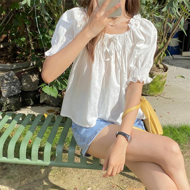 bl5498 Levinie Ruffle Short Sleeve Blouse