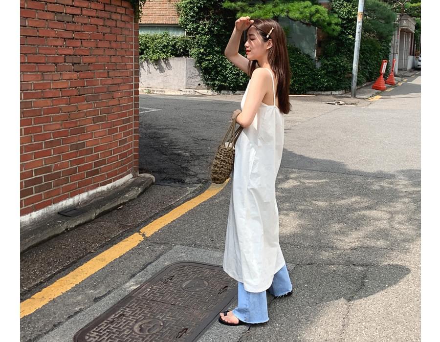 Layered Back Ribbon Long Dress