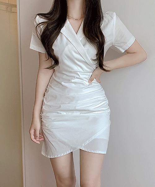 My Personal Shirt Wrap Shirring Waist Strap Unfooted Short Sleeve Mini Dress