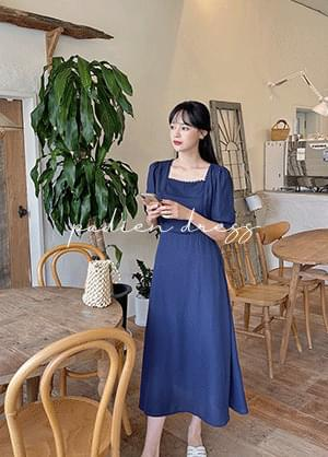 Padien Square Lace Back Ribbon Long Dress