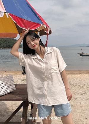Leedin Linen Short Sleeve Collar Shirt
