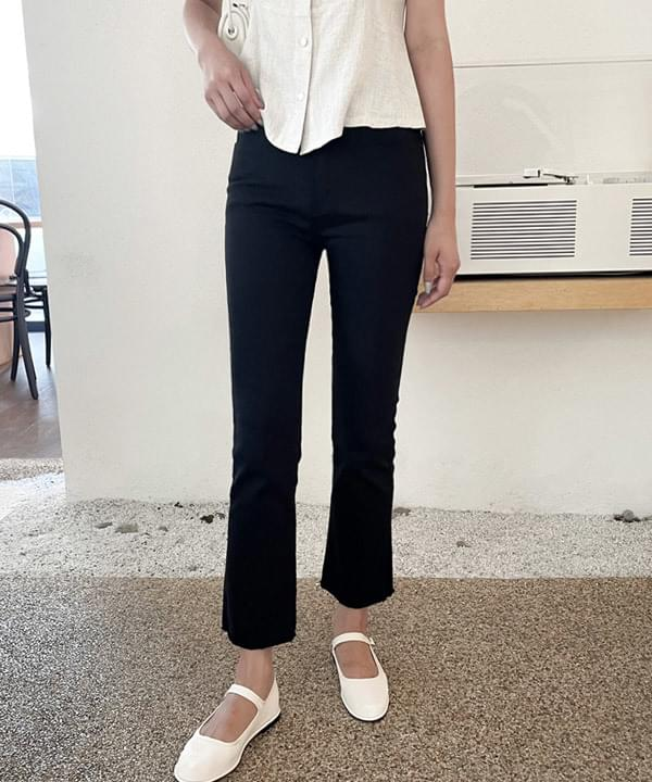 Opening Slim Flared Black Cotton Pants