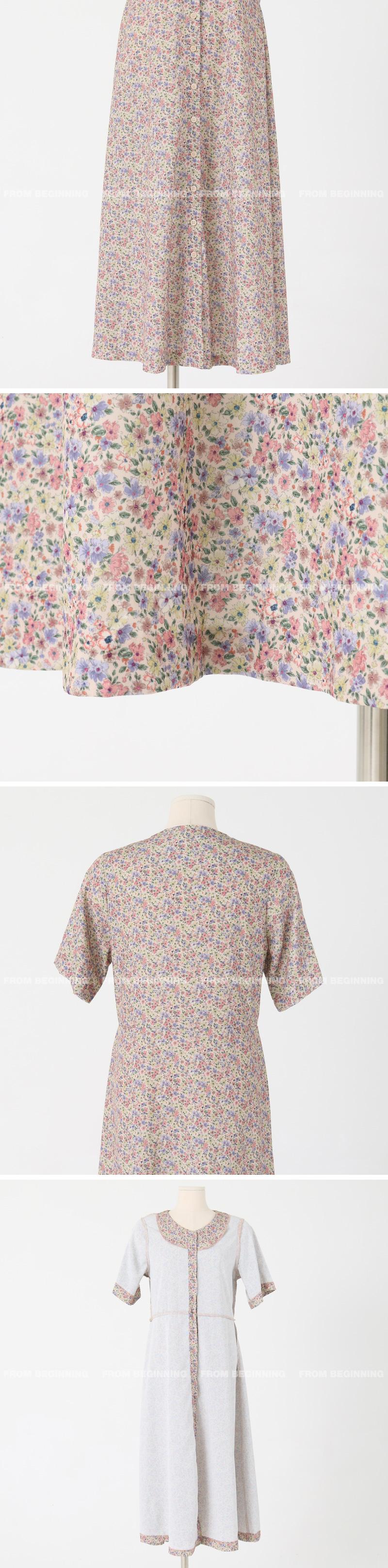 Lavender Flower Button Long Dress