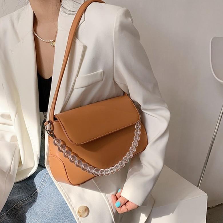 Square Linen Clear Bead Shoulder Bag