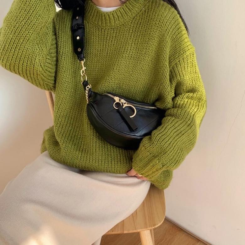 loin half circle fashion chain quilted crossbody bag