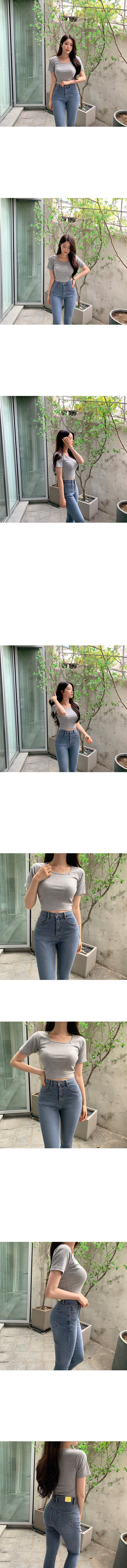 프리 스퀘어넥 골지 반팔 티셔츠 (3color)