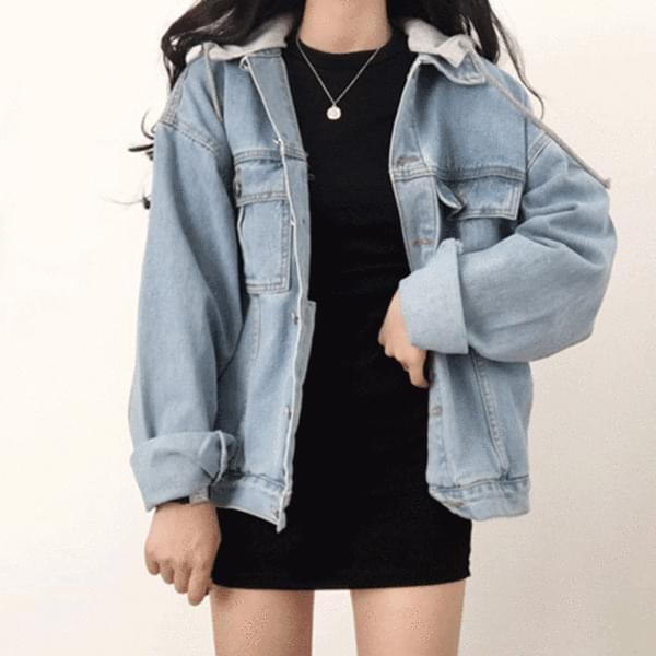 hooded blue jacket