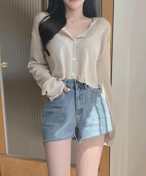 Aichu Linen Crop Shirring Long Sleeve Cardigan