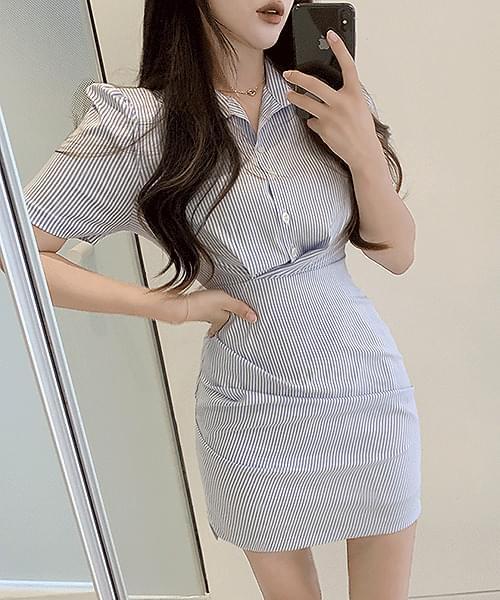 Marine girl striped shirt short sleeve mini Dress