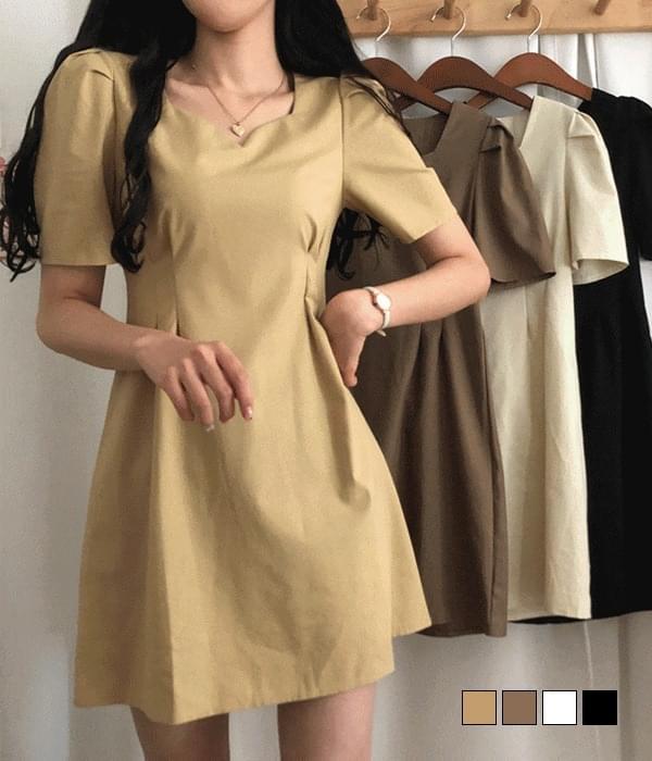 Brownie heart-neck linen Dress