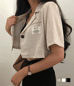 patch linen cropped short sleeve jacket