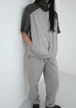color block half anorak jumper