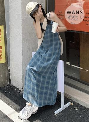 op5523 T-Any Check Long Sleeveless Dress