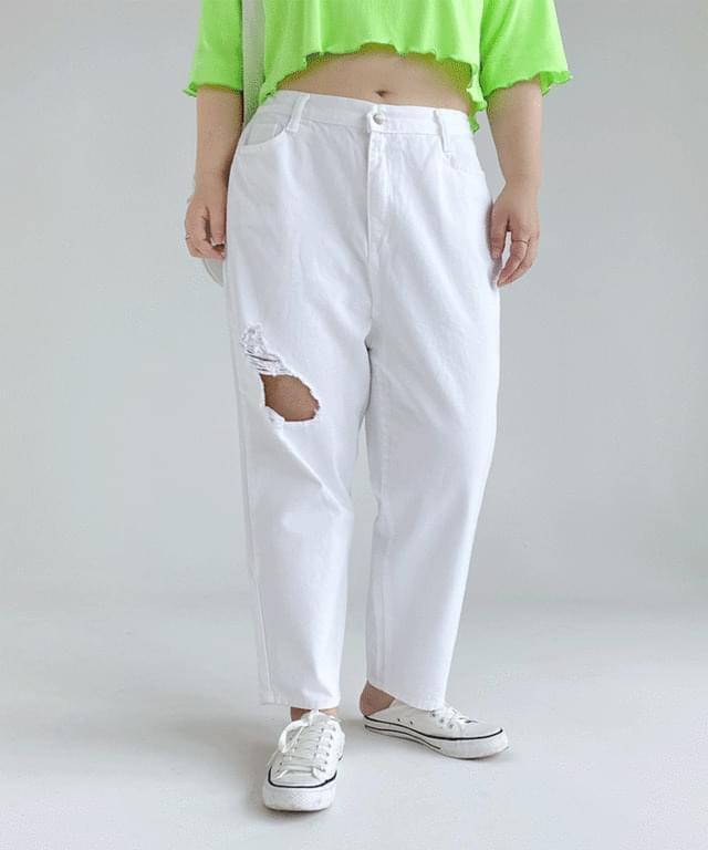 Big Size 26-38 Inch Damaged Cotton Boy Fit Pants