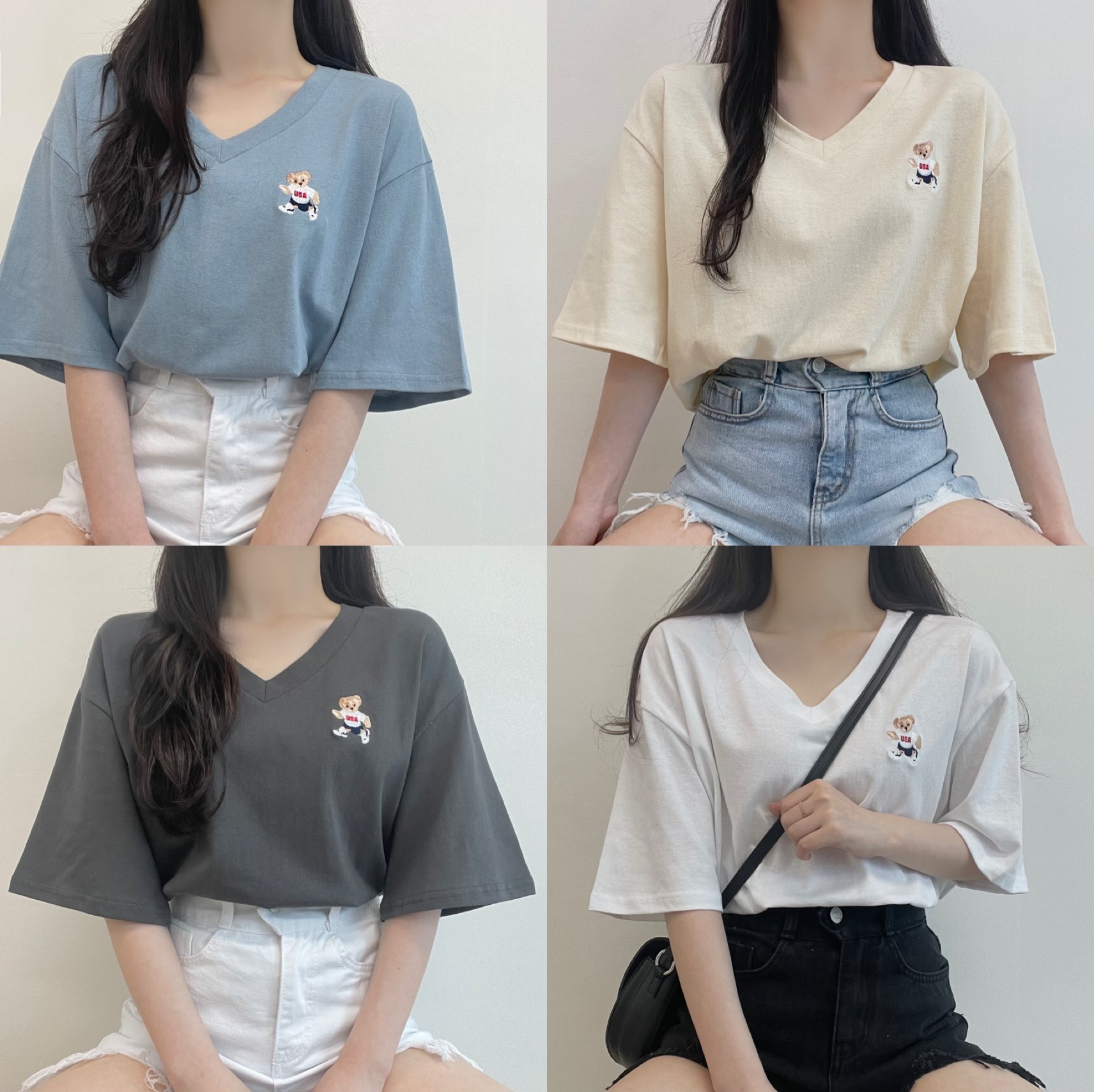 Shall we wear it together, bare embroidered V-Neck -fit short-sleeved T-shirt