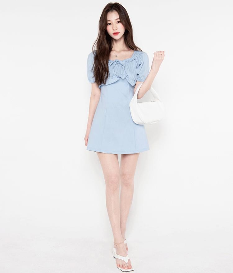 Tight lace ribbon mini Dress