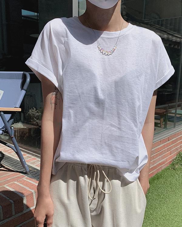 퍼빗 롤업 라운드 티셔츠