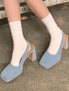 corduroy middle heel slingback shoes