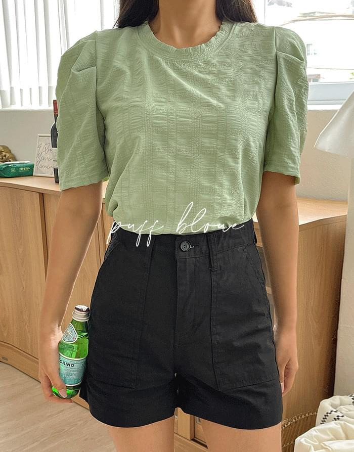 monochromatic pintucked blouse