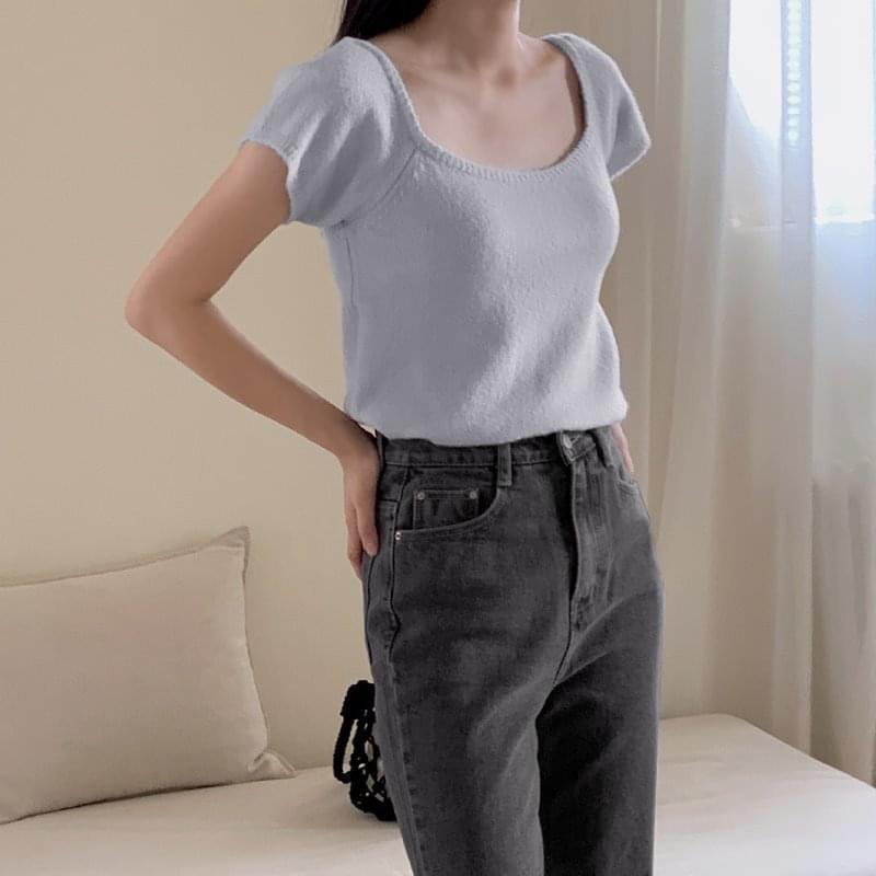 Letto Square Neck Cap Sleeve Short Sleeve Knitwear - 4 color