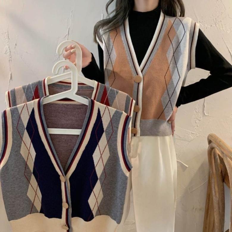 Retro Argyle Knitwear Vest Vest