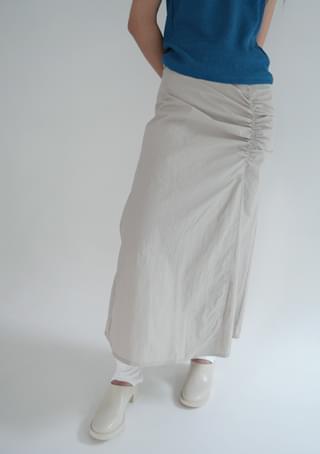 front shirring maxi skirt