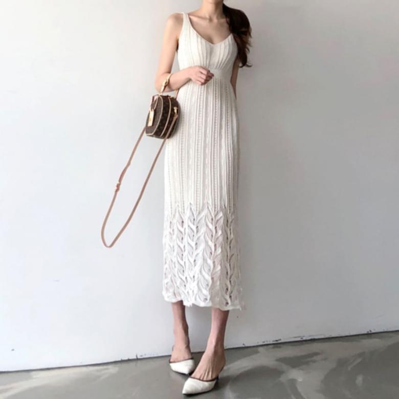 Hein Lace Line Sleeveless Long Dress