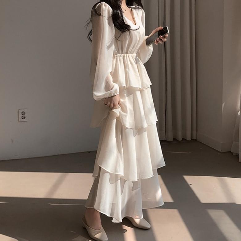 Grace Cancan Chiffon Puff Long Dress