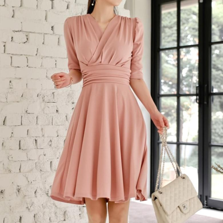 Ellen pleated band flare A-line Dress