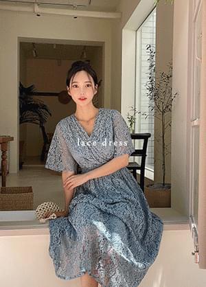 Lauravidin Lace V-Neck Wrap Style Back Ribbon Dress