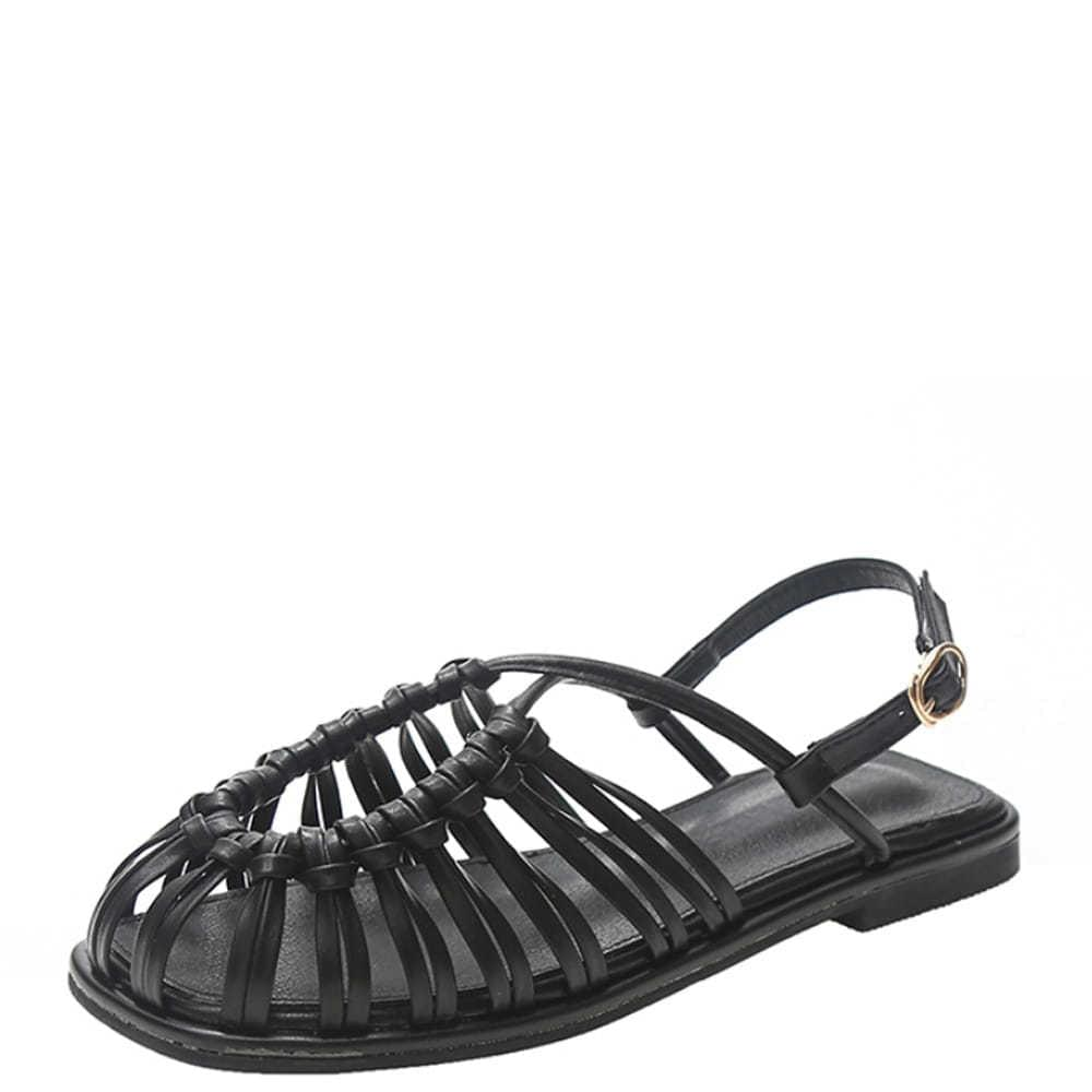 Slim Weave Strap Flat Sandals Black