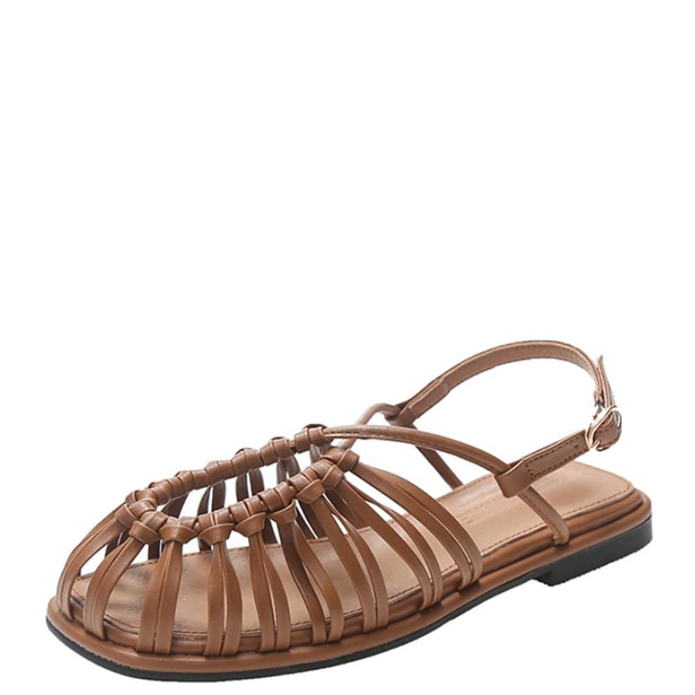 Slim Weave Strap Flat Sandals Brown