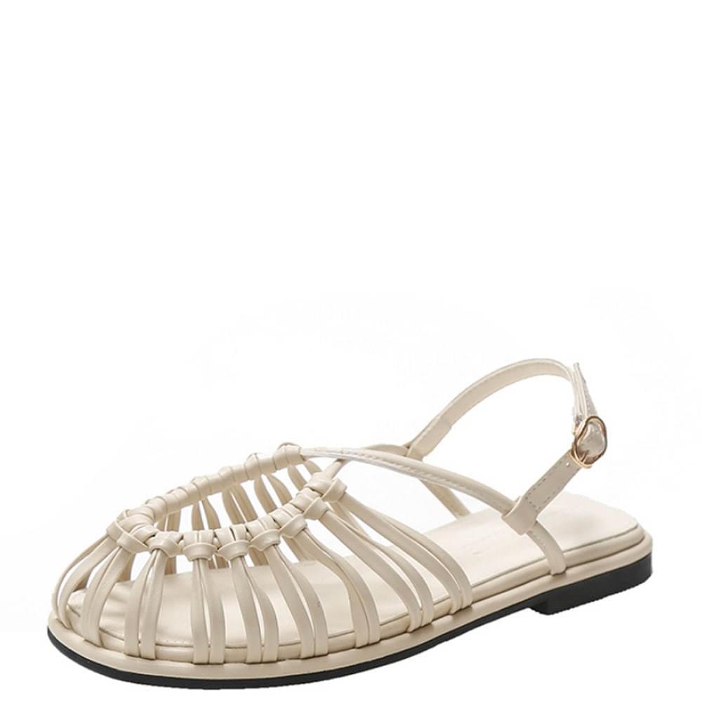 Slim Weave Strap Flat Sandals Beige