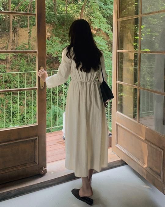 V-Neck Nylon Long Dress - 2 color