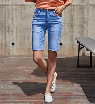 Banding Denim Shorts #79217