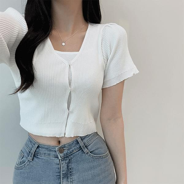 soft wave Ribbed short-sleeved cardigan