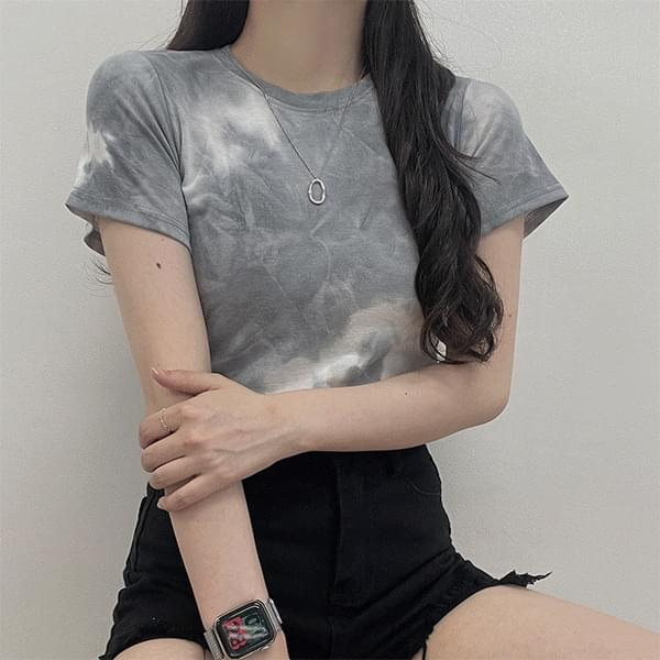 Toy, tie-dye water print cropped short sleeve T-shirt